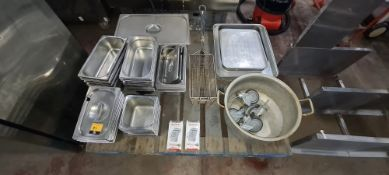 The contents of a pallet of assorted stainless steel dishes, trays & more