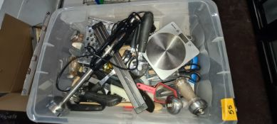 The contents of a crate of assorted kitchen utensils including magnetic knife rack, scales, stick bl