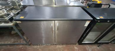 Gamko large black & brushed chrome twin door back bar/bottle fridge. NB wider than typical for a 2