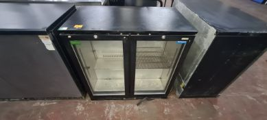 Halcyon black twin clear door under counter back bar/bottle fridge