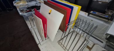 3 off chopping board racks plus a total of 9 chopping boards