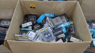 Box of Click Deco & Click Caernarfon assorted chrome finish sockets & switches