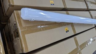 18 off IP65 non-corrosive LED fluorescent light fittings. Model GLO65-3, 4', single LED 20W, polyca