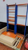 Quantity of blue & orange bolt-free racking comprising 6 uprights, approx. 16 shelves & a quantity o