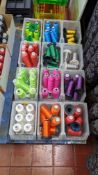 12 storage bins & their contents of embroidery thread