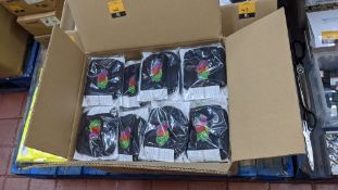 Large box of Fruit of the Loom adult face masks. The masks are 100% cotton, with 5 face masks in a p