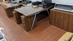 Quantity of matching dark brown & silver furniture comprising frame with back to back desks, 3 off f
