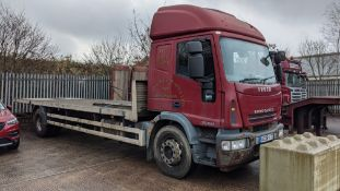 2008 Iveco Euro 4 18 tonne 2 axle open flat wagon with 26' bed and beaver tail