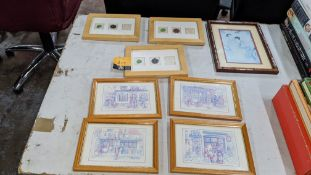 8 off assorted small framed pictures