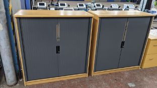 2 off tambour front office cupboards