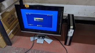 Polycom HDX 4000 video conferencing system including Polycom monitor. NB scratches to screen surfac