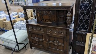 Dark wooden sideboard with multiple storage doors & drawers, max external dimensions approximately 1