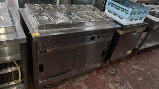 Lincat mobile heated unit comprising warming cupboard below & bain marie above