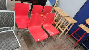 5 off matching stacking red wooden chairs with silver metal legs