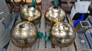 4 large gold globe suspended light fittings, each globe approximately 450mm diameter