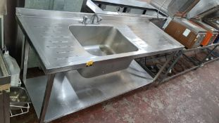 Stainless steel floor standing basin with drainers to both sides plus mixer tap. Max width approxim
