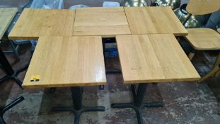 5 off matching café tables with black metal single pedestal bases & wooden tops each 510mm square