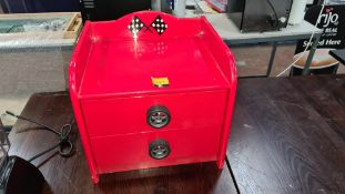 Motorsport inspired mini chest of drawers circa 430mm x 400mm x 400mm
