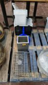 Row of miscellaneous items including metal & plastic trays/crates