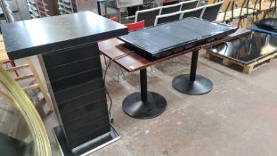 Mixed lot comprising tall bar table & 2 square tables
