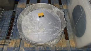 Approximately 20 metal round trays with deep slanted sides, each tray circa 370mm diameter