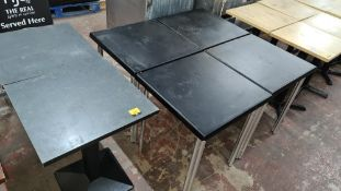 6 off black square tables in 2 different designs