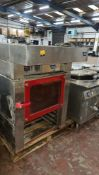 WIESHEU Euromat oven with built-in extraction canopy & tray holding section/stand