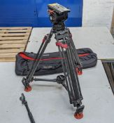 Sachtler Video 18P with Carbon Fibre multi-adjustable tripod including carry case & handle