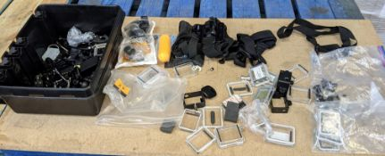 Large quantity of assorted GoPro accessories comprising large black tray & contents plus bag in fron
