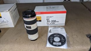 Canon EF 70-200mm lens, image stabilizer ultrasonic, F/4L IS USM. Includes box & discs as pictured