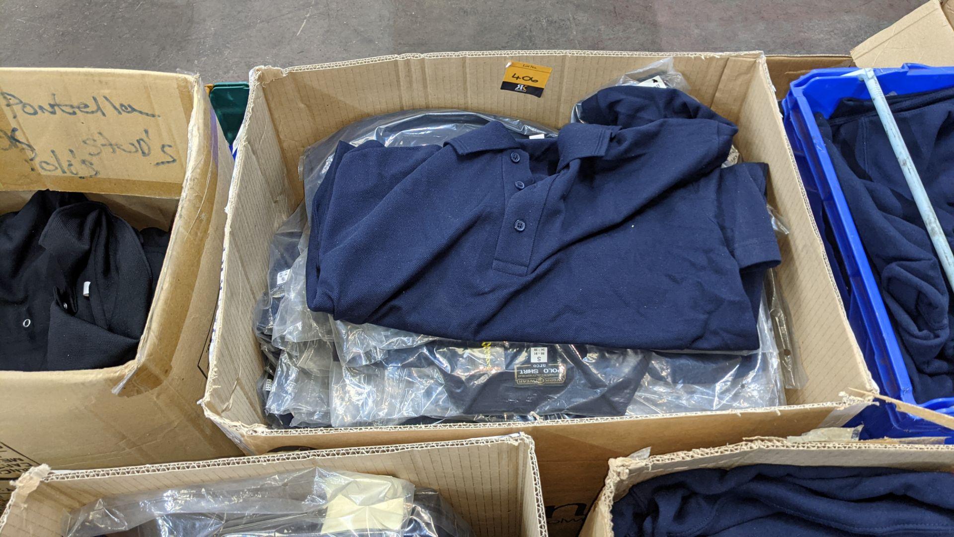 Quantity of blue polo shirts