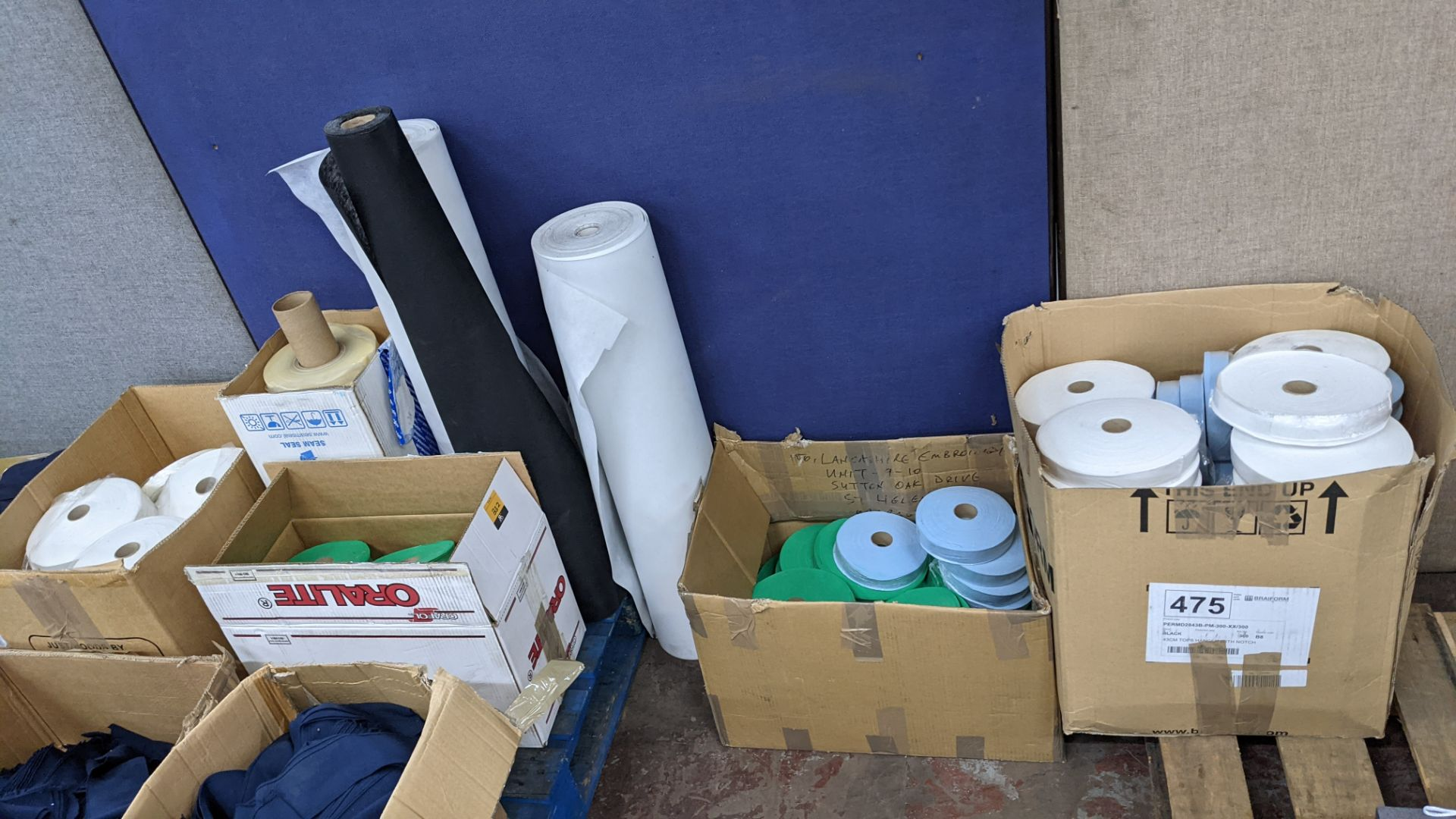 """Quantity of assorted """"tape"""" & other fabric consisting of 4 boxes & their contents of rolls of fabric"""