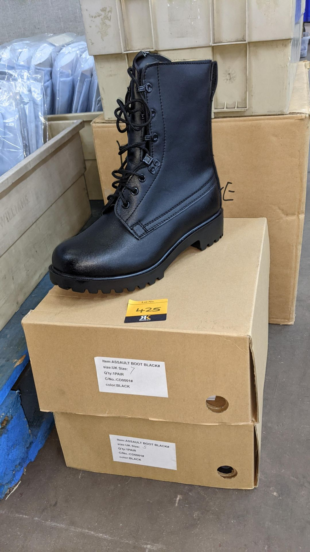 2 pairs of UK black assault boots (sizes 5 & 7)
