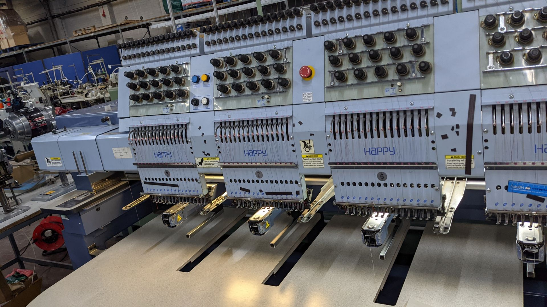 Happy 8 head embroidery machine, model HCG-1508-45TTC, 15 needles per head, including frames & other - Image 8 of 27