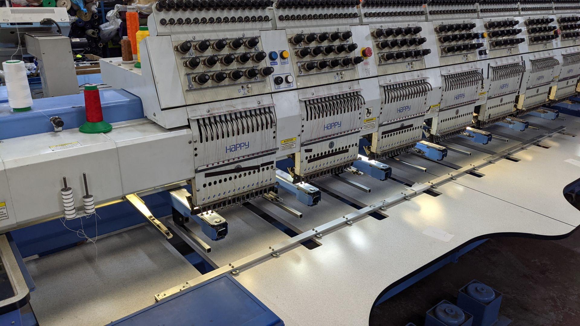 Happy 8 head embroidery machine, model HCG-1508B-45TTC, 15 needles per head, including frames & othe - Image 6 of 32