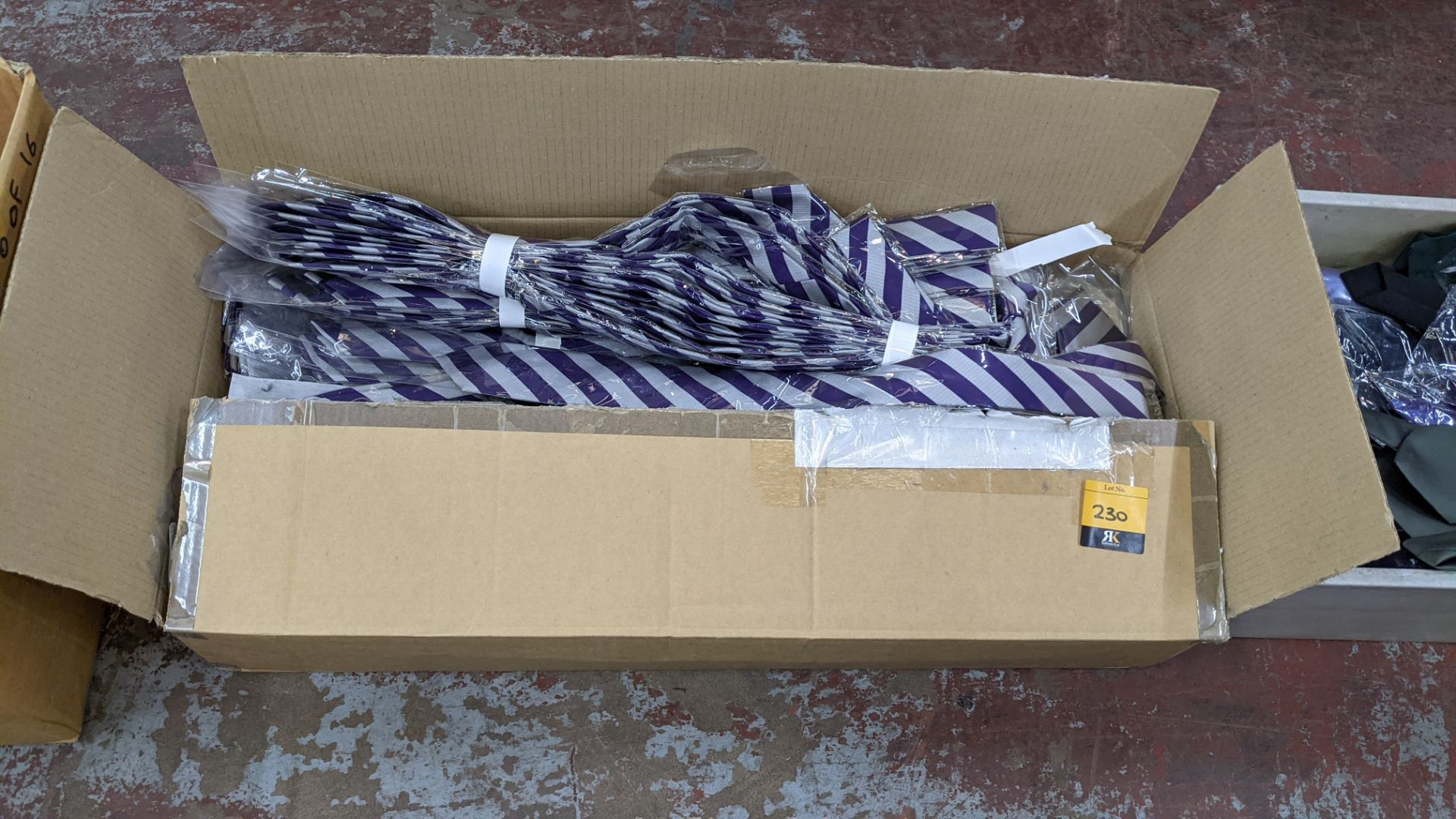 Box of purple & silver striped ties