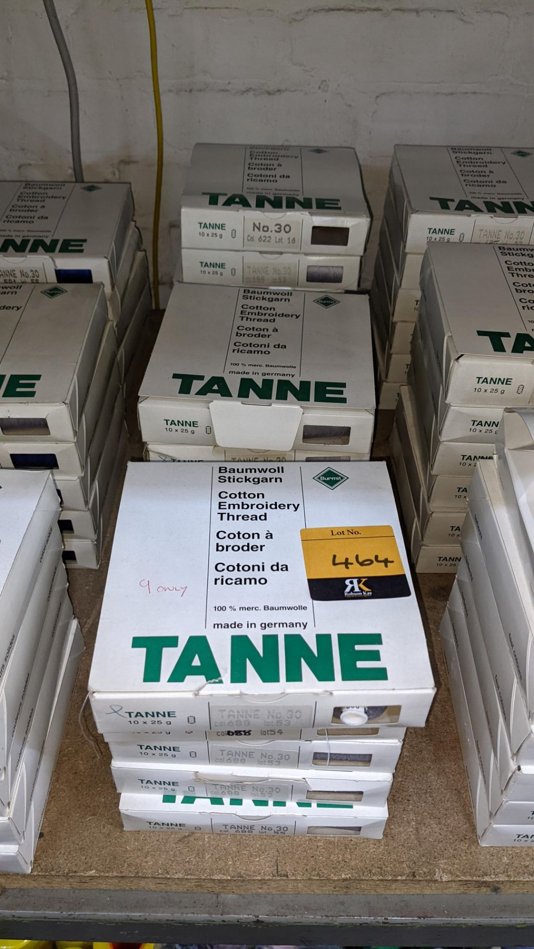 16 boxes of Madeira Tanne (Burmit) cotton embroidery thread