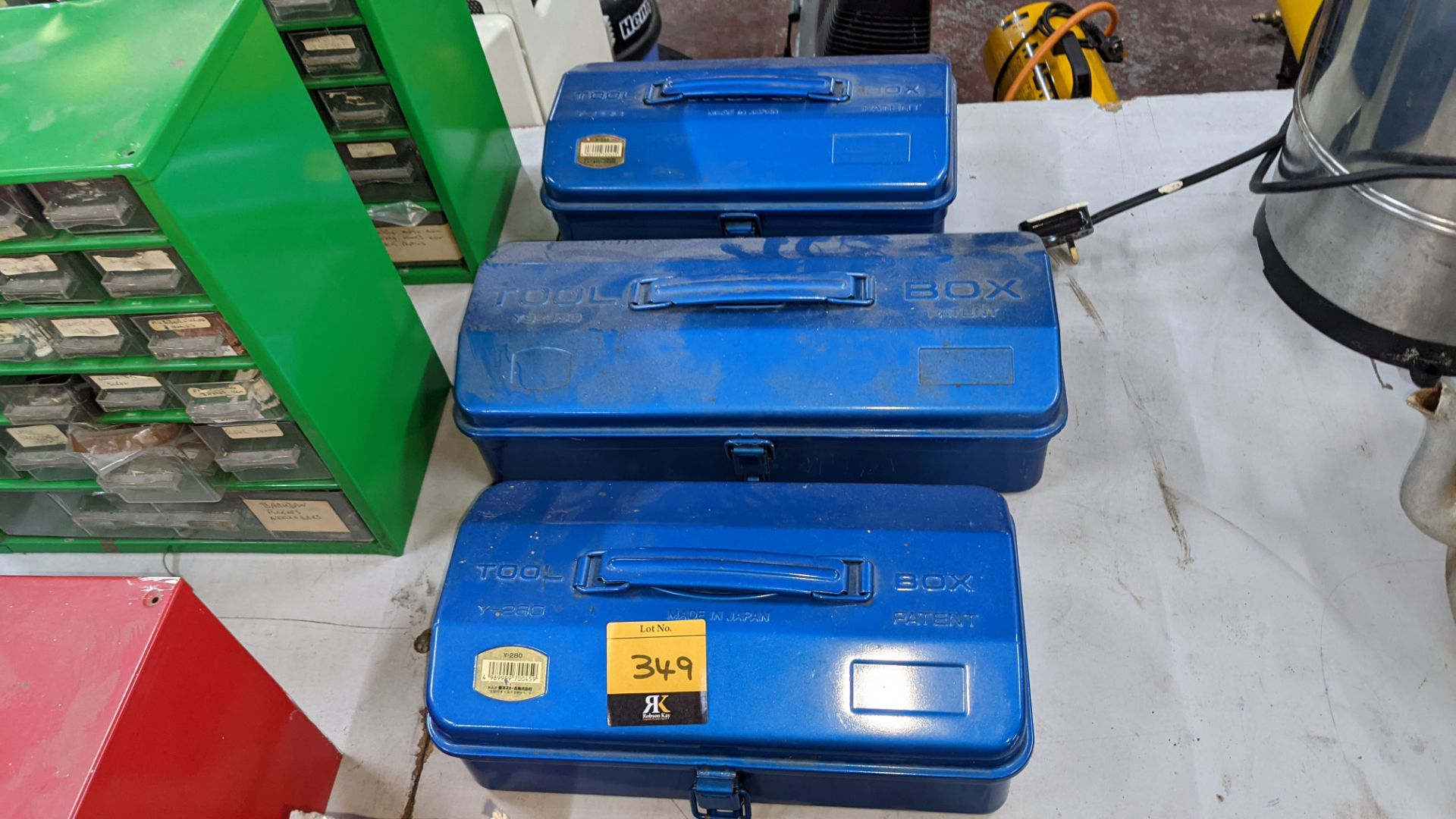 3 blue tool kits & their contents