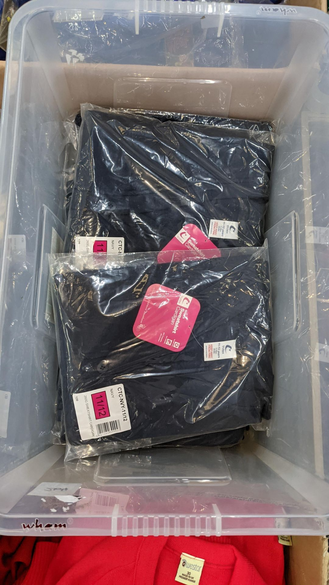 Approx 11 off Trutex children's navy button up sweatshirts/cardigans - the contents of 1 crate. NB - Image 3 of 5