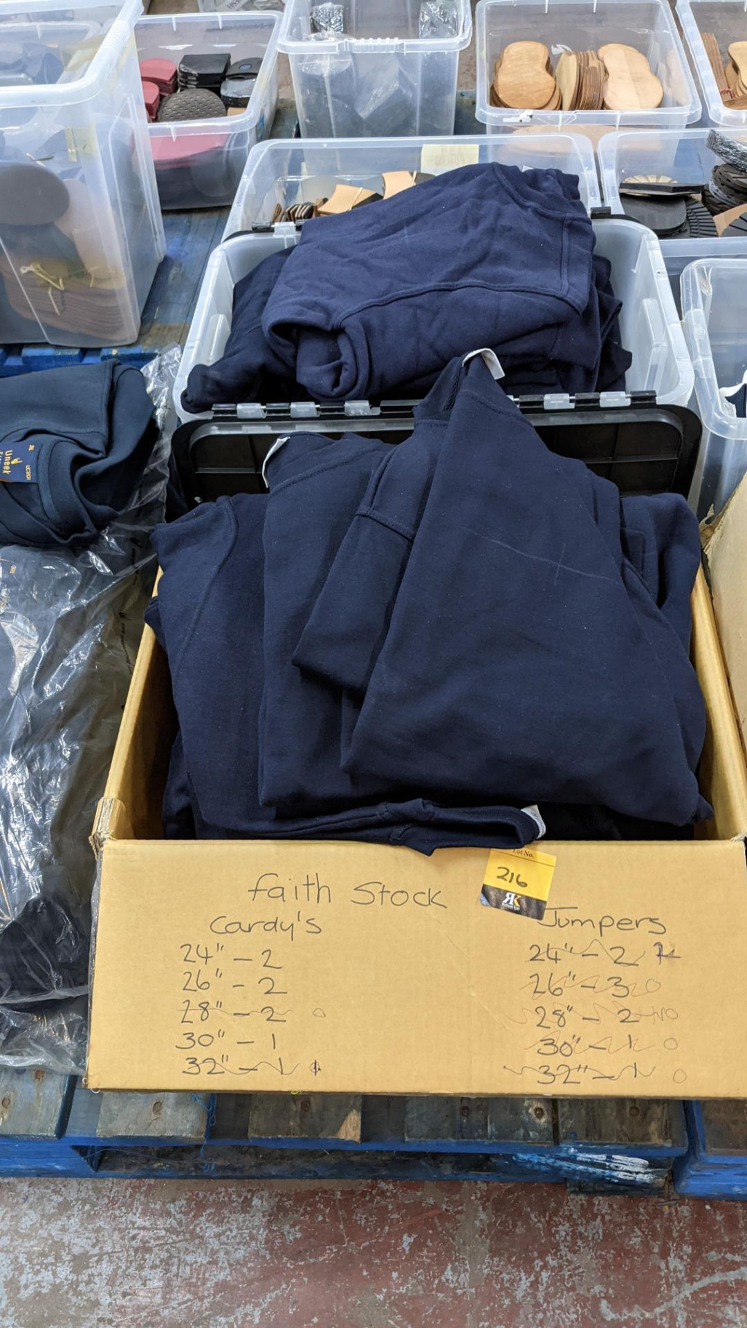 Approx 26 off Absolute Apparel blue sweatshirts - the contents of 2 boxes/crates. NB boxes/crates e