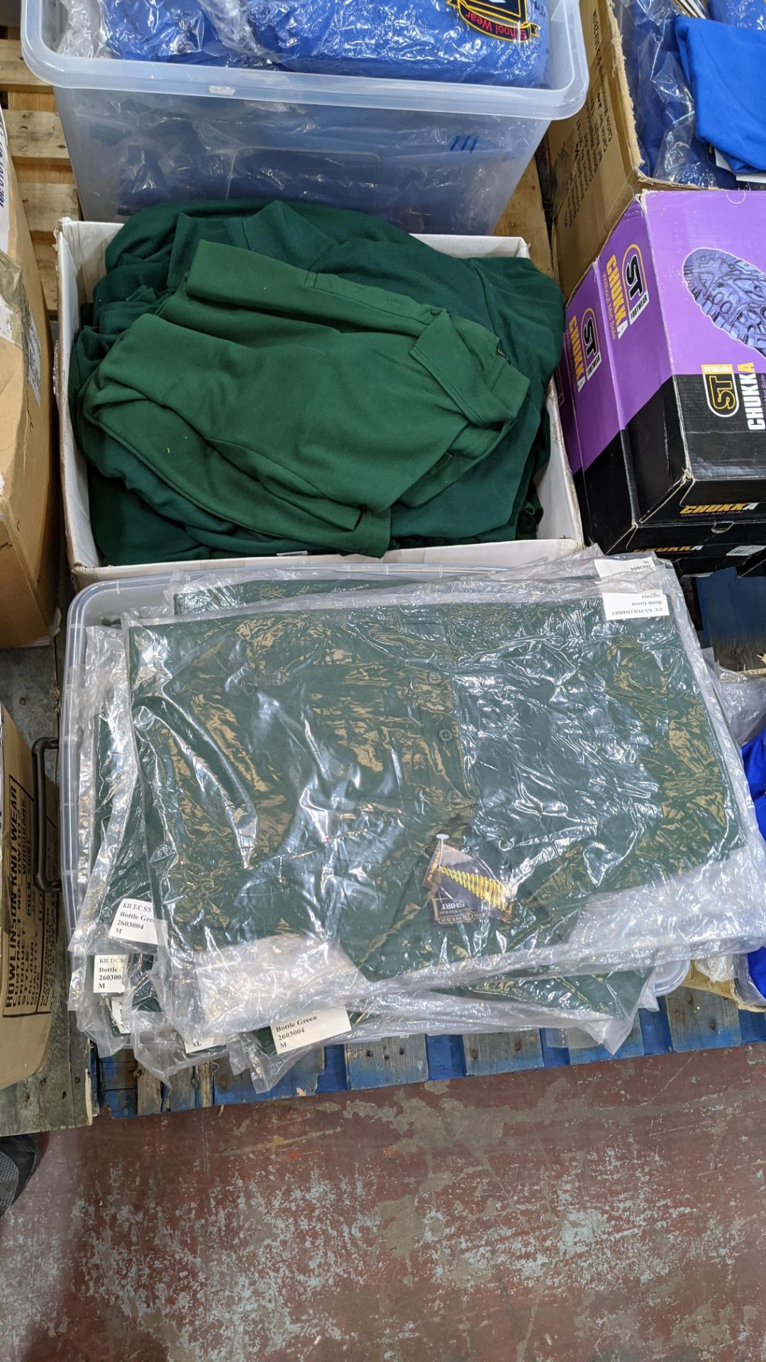 Approx 80 off green polo shirts & sweatshirts - the contents of 2 boxes/crates. NB boxes/crates exc - Image 2 of 6