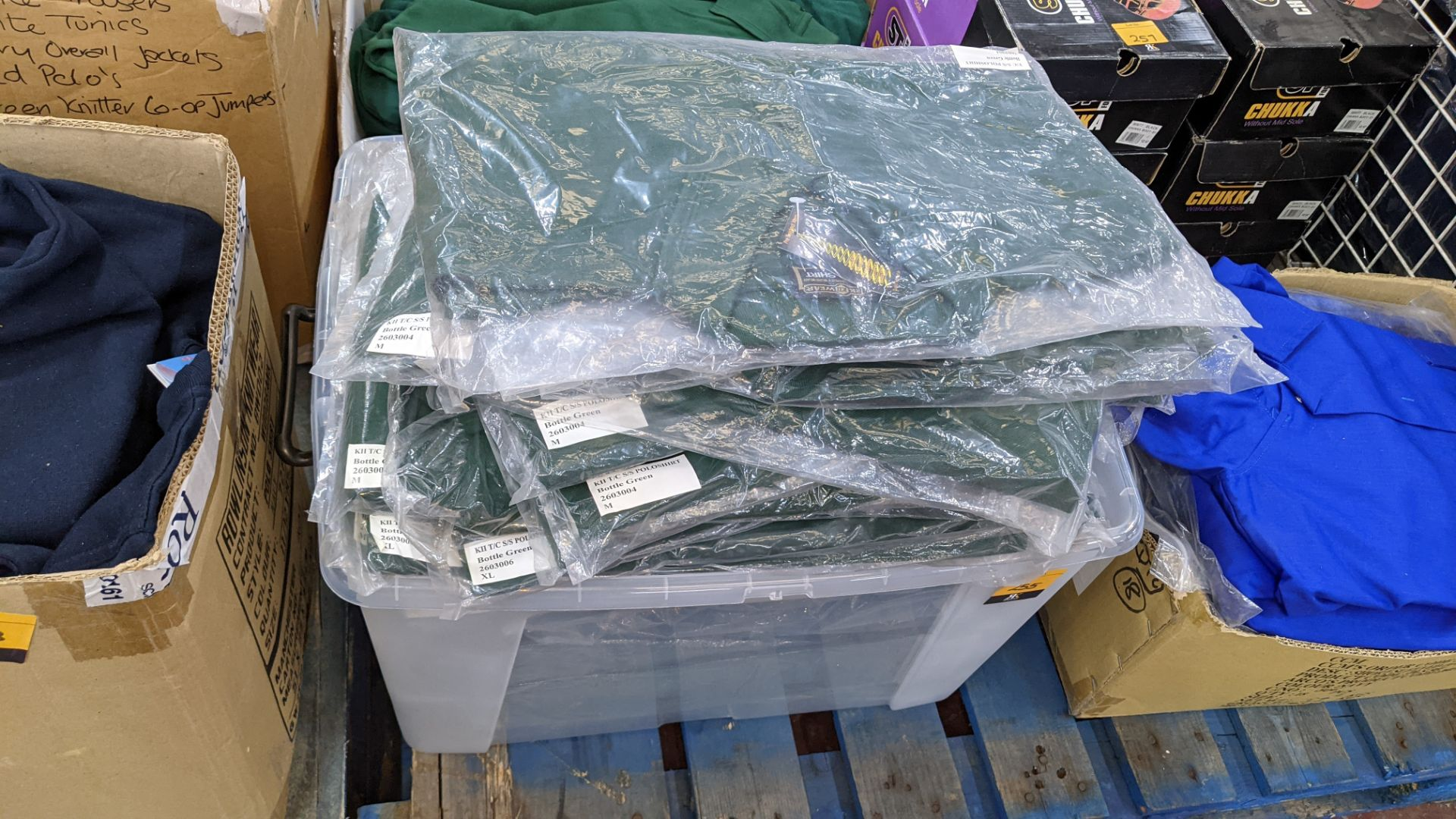 Approx 80 off green polo shirts & sweatshirts - the contents of 2 boxes/crates. NB boxes/crates exc - Image 3 of 6