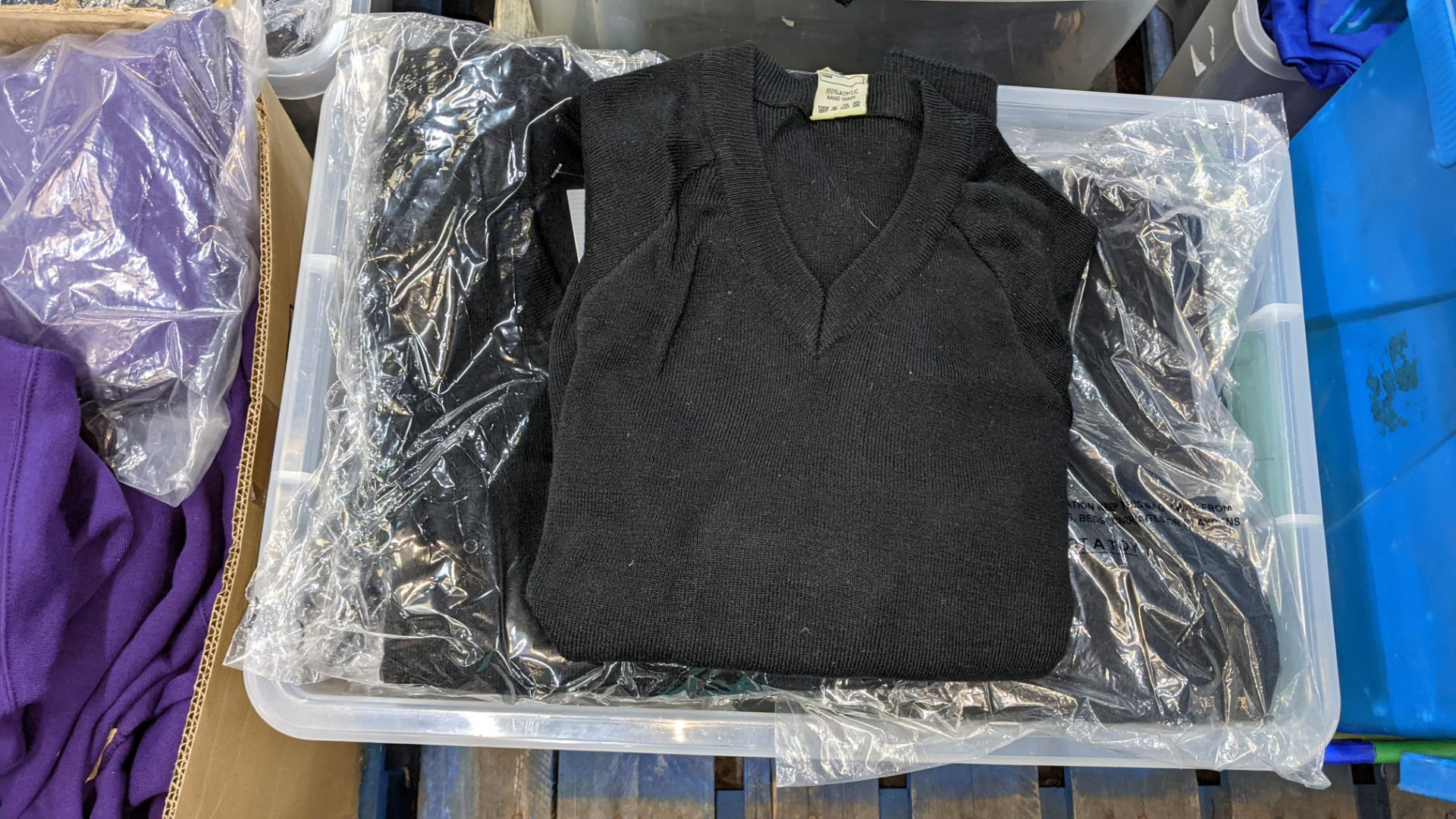 Approx 15 off children's black V neck jumpers - the contents of 1 large crate. NB crate excluded - Image 3 of 4