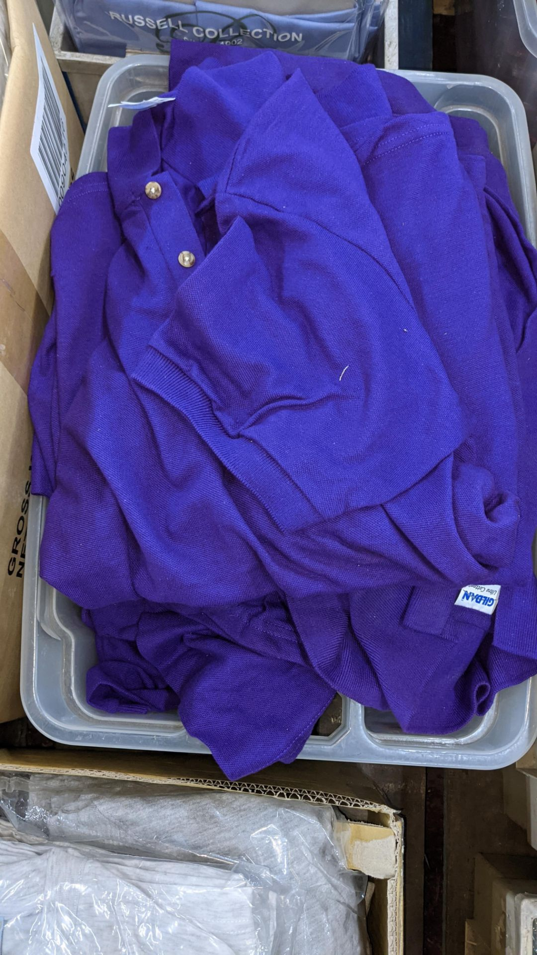 Quantity of Gildan purple polo shirts - the contents of 1 crate. NB crate excluded - Image 3 of 5