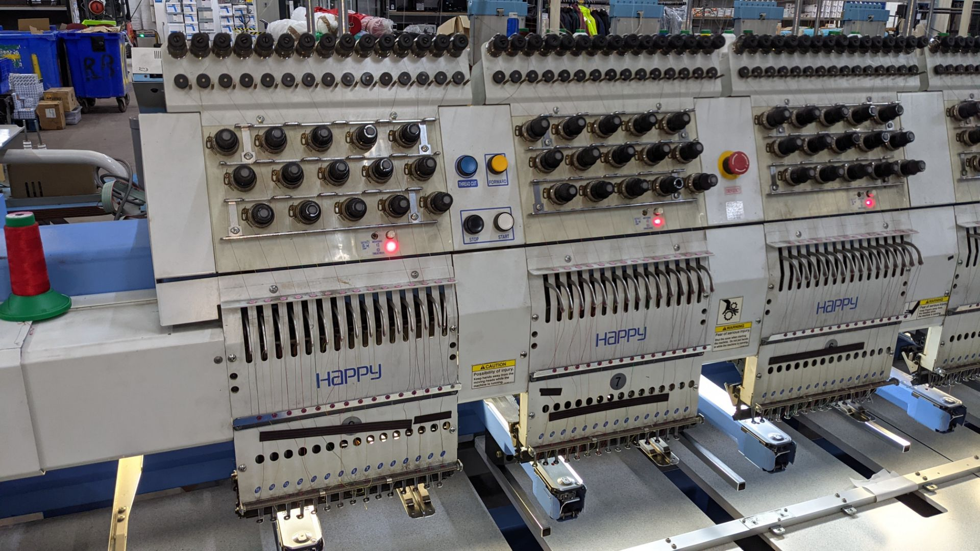 Happy 8 head embroidery machine, model HCG-1508B-45TTC, 15 needles per head, including frames & othe - Image 13 of 32