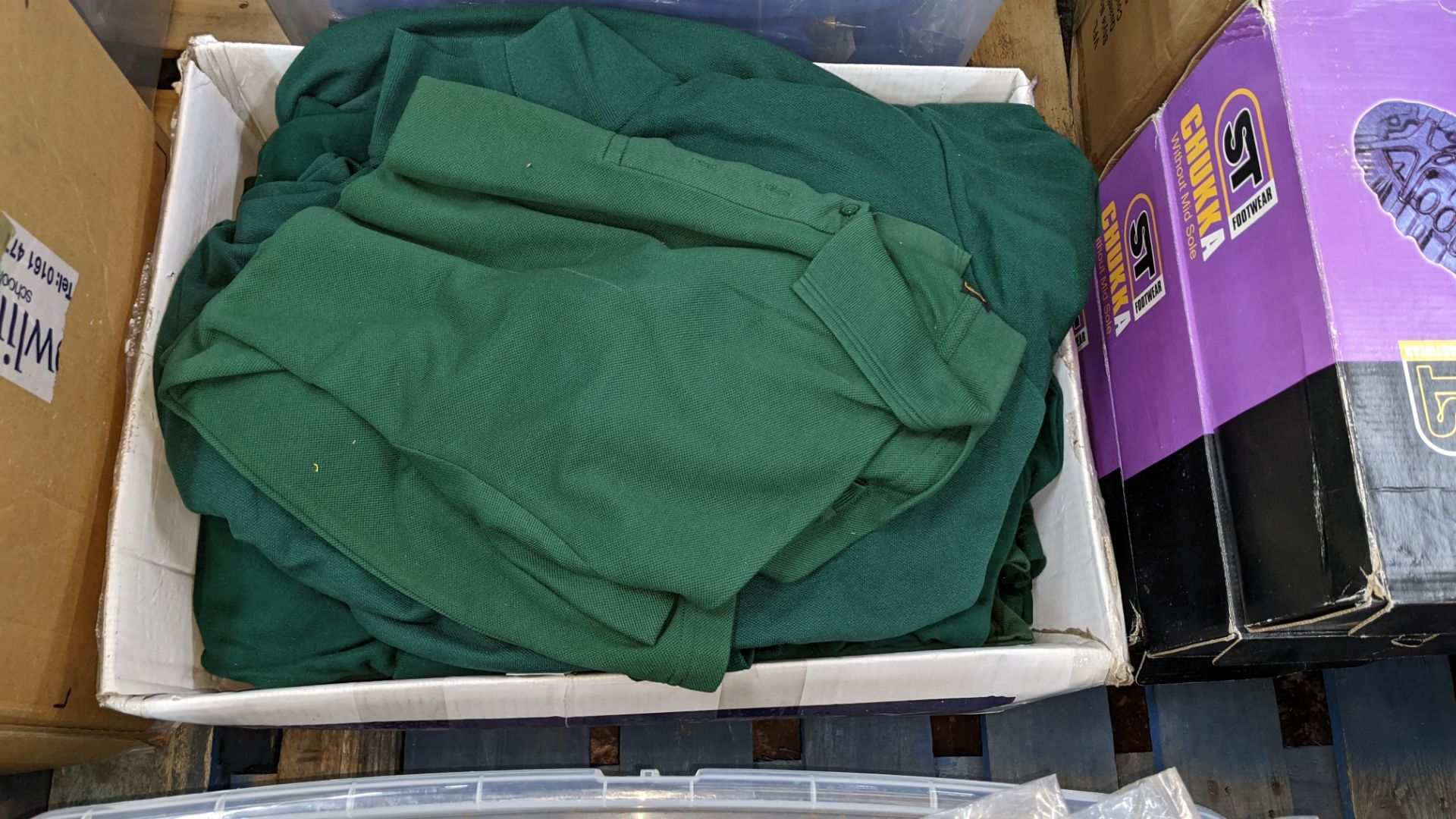 Approx 80 off green polo shirts & sweatshirts - the contents of 2 boxes/crates. NB boxes/crates exc - Image 5 of 6