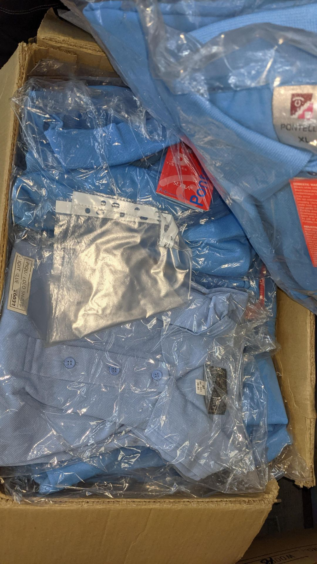 Approx 25 off pale blue polo shirts - Image 4 of 5