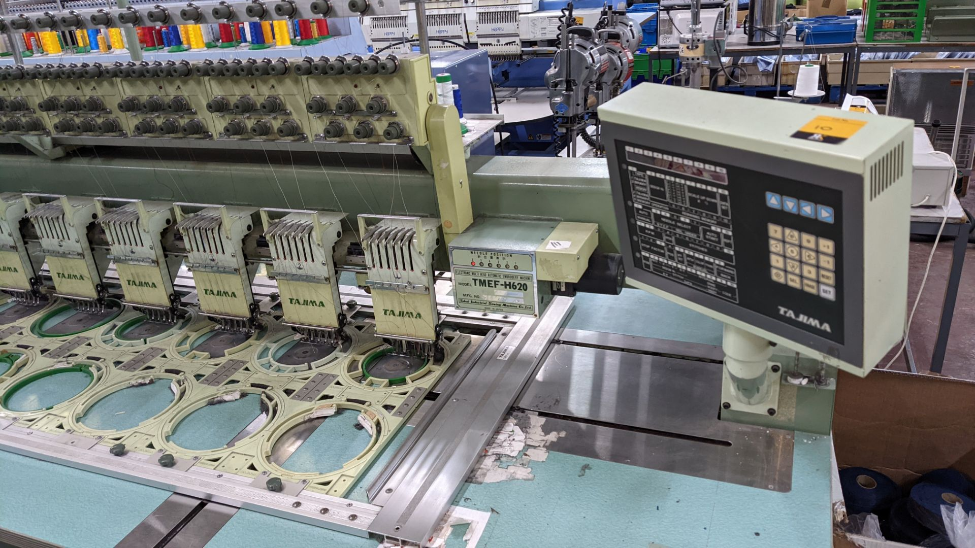 Tokai Tajima electronic 20 head automatic embroidery machine model TMEF-H620 - Image 3 of 25