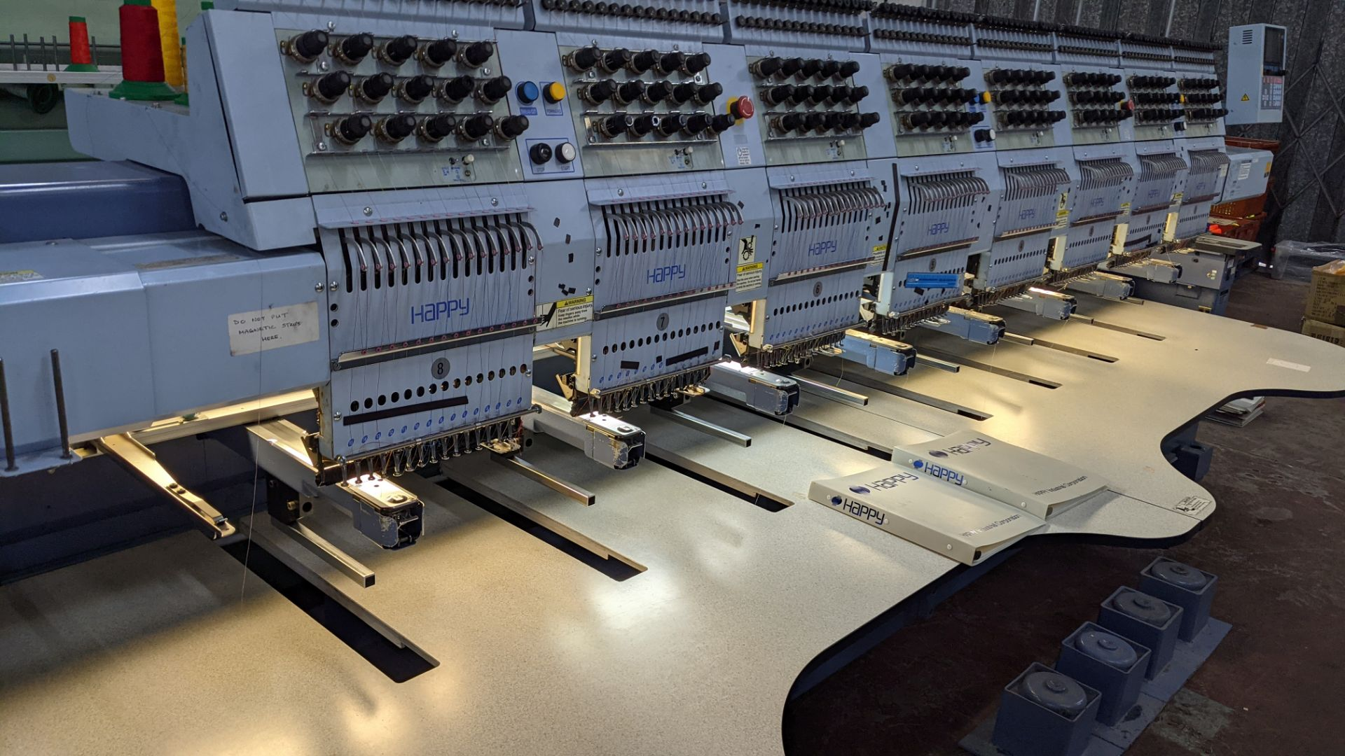 Happy 8 head embroidery machine, model HCG-1508-45TTC, 15 needles per head, including frames & other - Image 17 of 27