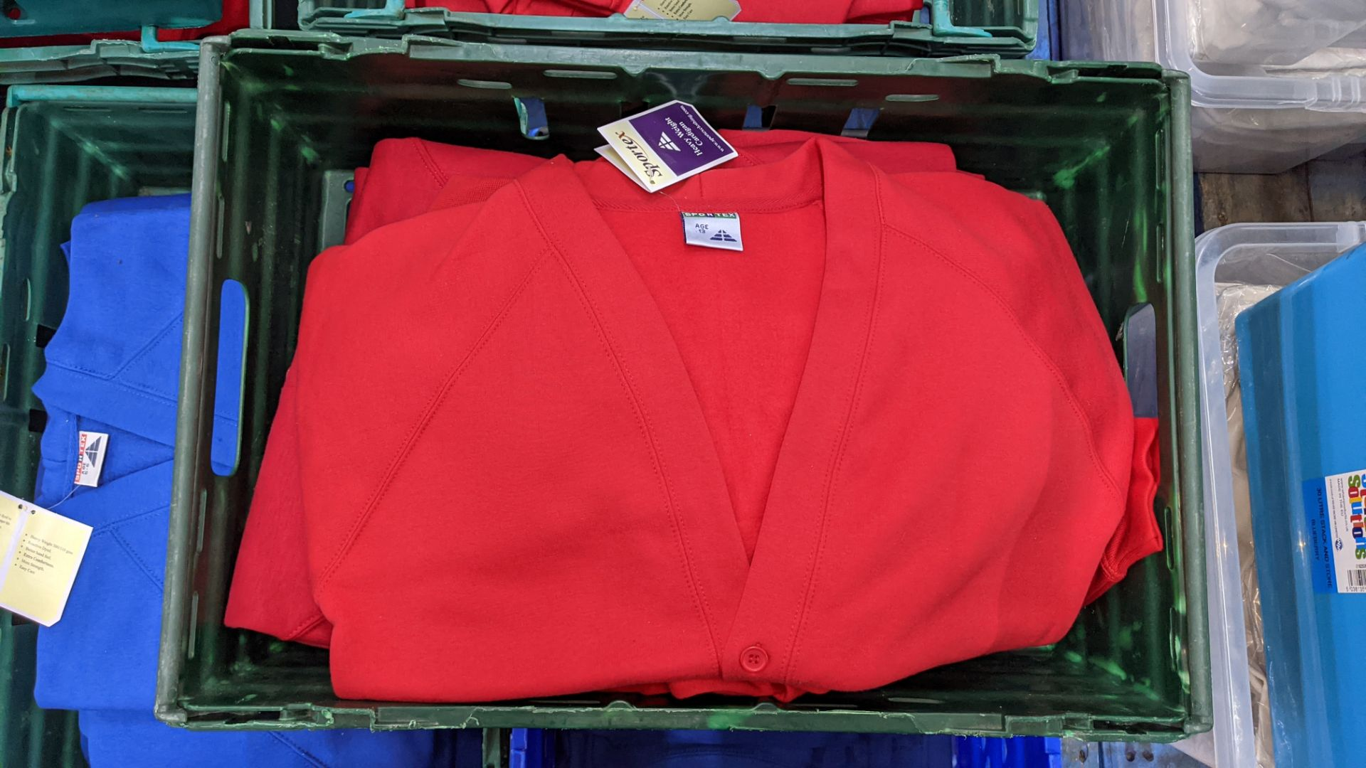 Approx 18 off Sportex children's assorted sweatshirts - the contents of 2 crates. NB crates exclude - Image 4 of 5